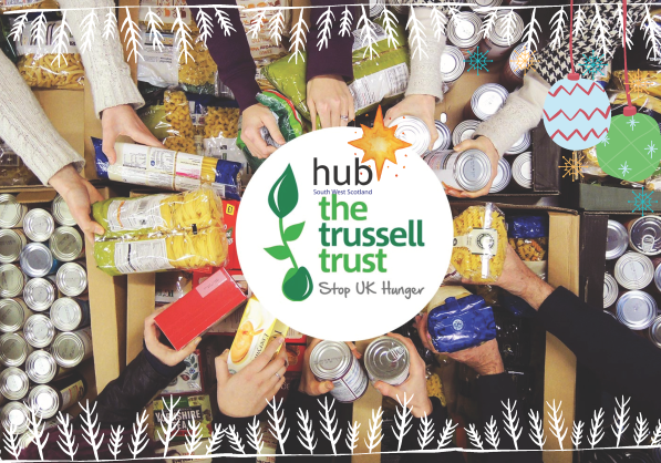 hub South West backs Trussell Trust's food bank network to help bring some Christmas cheer to disadvantaged households in Lanarkshire, Ayrshire, and Dumfries & Galloway